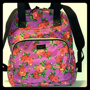 BETSEY JOHNSON purple Floral 2 Way Backpack Hobo